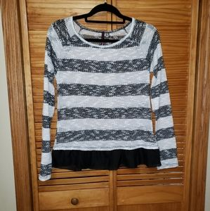 Open Weave Babydoll Hem Pullover XL Sweater